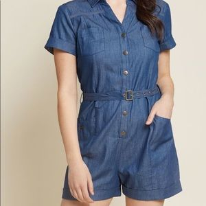 Modcloth Lighthearted Cartographer Denim Romper-L